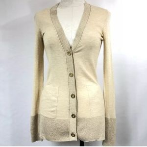 LILY PULTIZER METALLIC GOLD CARDIGAN